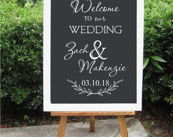 Welcome to our Wedding His & Hers Names Vinyl Lettering Decal Wedding Sign Rustic Barn Wedding Decor DIY Lettering for Sign Personalized