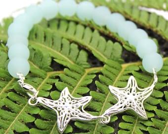 Sterling Silver Starfish Bracelet, Beach Glass Beads, Beach Jewelry, Sea Glass, Beach Glass, Bracelet, Beach Wedding