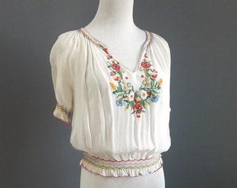 1940s hungarian blouse, sheer hungarian embroidered blouse, kalocsa blouse, medium size, vintage ethnic blouse, vintage hungary