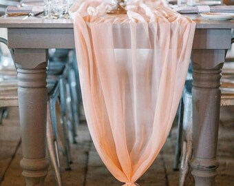 Romantic Chiffon Table Runner | Blush Peach Tablecloth Décor For Bridal  Shower Bachelorette Party Baby Girl