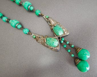 Max Neiger Czech Art Deco Vintage Silver Plated Peking Glass Necklace