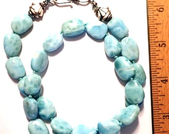Larimar Beaded Necklace with Sterling