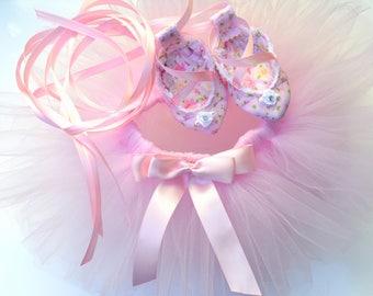 PRIMA Baby Tutu and Ballet Shoe Set -  Birthday Tutu -  Newborn Photo Prop - Ballerina Outfit for Babies - Newborn Ballerina Costume