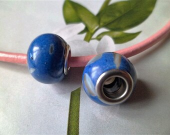 2 beads Howlite natural Charms blue multicolor 14 x 10 mm