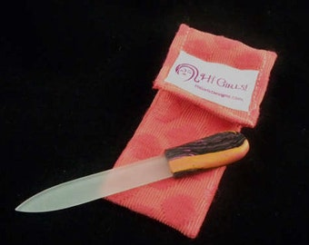 Glass crystal file with clay handle and case orange stripes purse accessory