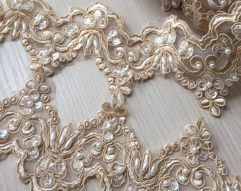 "Champagne Alencon Lace Trim Pearl Beaded Sequined Lace Wedding Lace Trim 3.54"" Width 1 Yard"