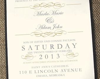 Elegant wedding invitations, timeless wedding invitations, gold wedding invitation, vintage wedding invitations, printed wedding invitations