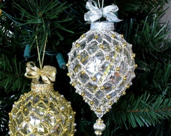Christmas Ornament Beaded Crochet Covered Teardrop Ornament In Metallic Silver With Silver and Gold Accents, Christmas Hanukkah Decor