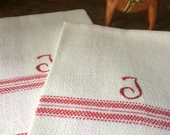 Pair of Vintage/woven/Scandinavian/hand towels/kitchen towels/monogram J/red and white/farmhouse kitchen
