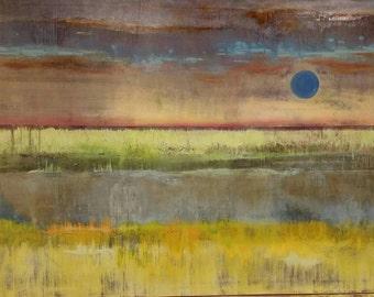 "Blue Sun original acrylic painting 48"" X 36"" canvas"