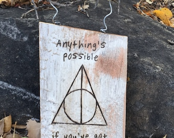 Harry Potter Sign with Deathly Hallows, Quote and Spell