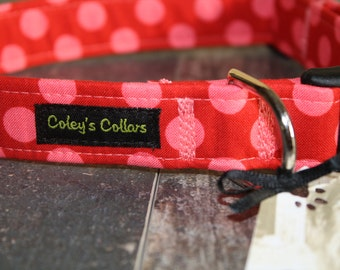 """Polka Dot Dog Collar, Dog Collar, Dog Collars, Girl Dog Collar, Female Dog Collar, Boy Dog Collar, Male Dog Collar,  """"The Polka in Red"""""""