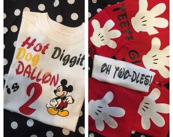 Minnie and mickey birthday shirts