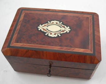 French ROSEWOOD Marquetry Boulle Sewing Scent Necessaire Casket Box