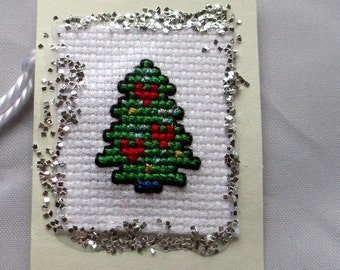 Christmas Tree Cross Stitch Gift Tags