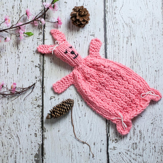 Loom Knit Bunny Lovey Pattern Rabbit Blanket Toy For Baby