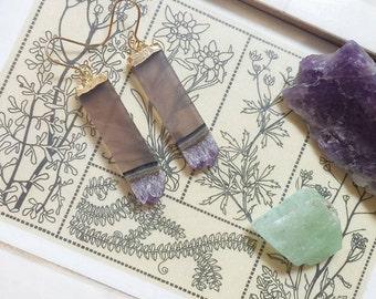Amethyst Bar Earrings - Boho Gemstone Jewelry
