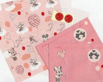 Disney Japanese Letter Set Minnie Mouse & Friends Pink Love Balloon Window Envelope