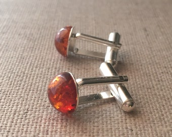 Amber Sterling Silver Cufflinks. Father's Day Gift Idea. Matching Cufflinks Set And Earrings For Father Daughter Set Available. Wedding