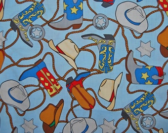 Novelty baby boy cowboy fabric by the half yard cotton fabric I spy quilting fabric baby boy blue cowboy baby shower cowboy hats boots