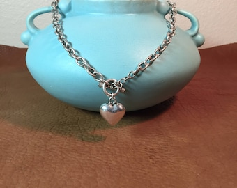 Sterling Puff Heart Necklace