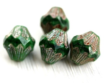 Malachite green czech picasso beads, glass bicone beads, large baroque bicones with luster, table cut, 13mm - 4Pc - 1745