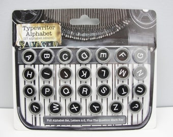 27 Vintage look Typewriter keys for mixed media art