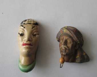 2 Vintage Doll Heads Porcelain Clay Exotic Small Heads Turban for Repurpose