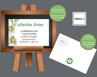 Personalised Business Cards | 85mm x 55mm | Spring Floral Cream & Pink | Florist | Wedding Reception | Bridal | Personal | General | Baby