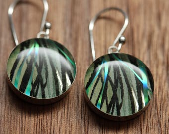 Sparkly Blue Feather earrings made from recycled Starbucks gift cards. sterling silver and resin.