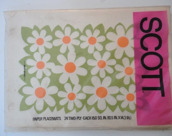 Vintage Unopened Daisy Scott Paper Placemats for Your Summer Entertainment Flower Power 24 2 Ply Paper Placemats Orange Daisy