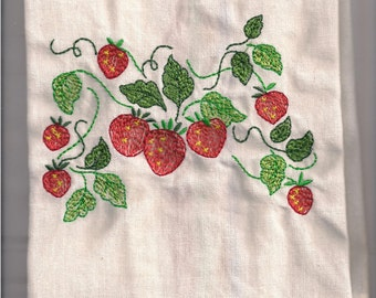 New Kitchen Tea Towel with VINTAGE STRAWBERRIES  embroidered