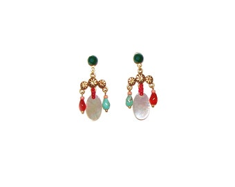 Egyptian Revival Chandelier Earrings / Etruscan / Mother of Pearl / Turquoise / Coral