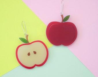 Juicy Apples Novelty Earrings / Fruit / Shrink Plastic / Printed Plastic /Handmade / Food