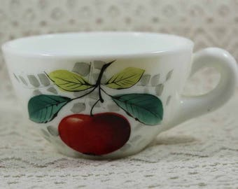 Westmoreland Coffee Cups, Westmoreland Milk Glass Cup, From the Beaded Edge Fruit Patterned Lunch Collection, Cherry Design Tea Cup