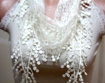 ivory lace scarf -l ace scarf - woman scarf - scarves - gift scarf -women's accessories - scarves - woman accessories - hair accessories