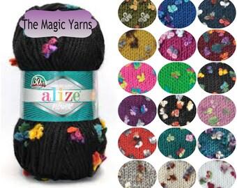 SALE Alize MAXI FLOWER- Fancy yarn by Alize, super bulky, very bulky yarn, wool blend, 14 ply, double double knitting yarn