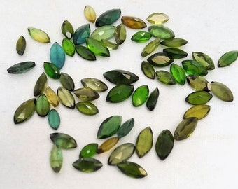 Natural Green TOURMALINE  faceted marquise shaped,cut stone,  2x4 mm -- 3x7 mm ,14 ct. 53 pieces  [E0232]