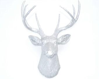 Faux Taxidermy -  Metallic Silver Deer Head - Faux Deer Head Antlers Fake Taxidermy Wall Mount D1010