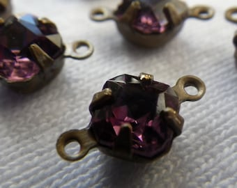 Amethyst Purple Vintage Swarovski Square Octagon 6x6mm Glass Connectors Two Loops 6 Pcs