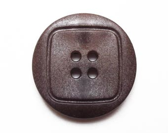Large button round fancy Brown acrylic 38 mm
