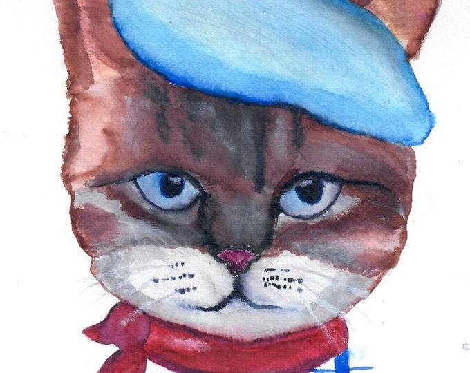 French Kitty Art - Watercolor painting - clearance sale
