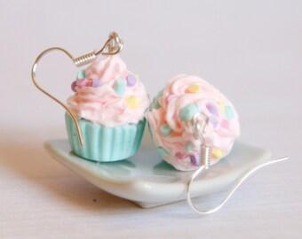 Pastel cupcake earrings, pink and mint Polymer clay miniature, kawaii food jewelry
