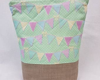 Bunting Fabric Quilded Tall Medium Project Bag - Knitting Bag - Crochet Bag