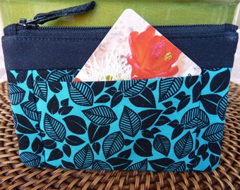 Handcrafted  Zipper Coin Purse/ Mini Wallet with outside pockets