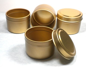 Gold Round Tin with Lid - 2 ounces Circle - Use for Wedding Favors Candles or Gifts - Seamless and Food Safe - 50 Tins