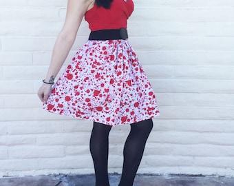 Blood Splatter, Blood, Horror, Halloween, Nerd, Geek, Scary, Zombie, Skirt, Pinup inspired