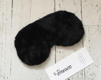 Oversized Womens Mens Sleeping Sleep Travel Eye Mask Stretchy Silk Satin Faux Fur Black Faux Real