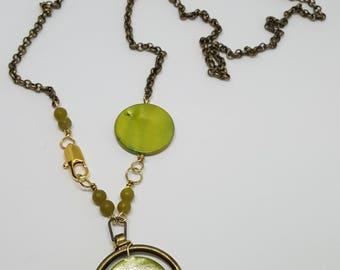 Green Circles Long Necklace