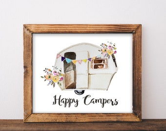 Happy Campers, printable, happy camper, happy camper sign, camper, camper decor, camper sign, camper art, camping signs, camping decor, art